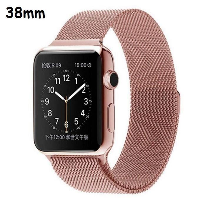Bracelet Apple Watch I Watch en acier inoxydable 38 mm , Fermoir aimant  puissant , rose or