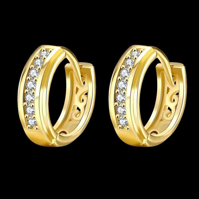 Womens 14k Gold & Rose Gold Plated Cz Cubic Zirconia 15mm Small Round Hoop Earrings M3WVS