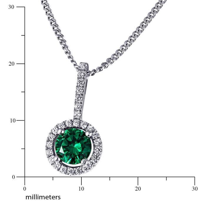 Collier Femme 45 Cm - Argent 925 - 1 Émeraude Et 29 Oxydes De Zirconium NO8EO