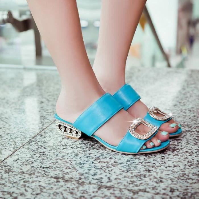 Sandals Women Summer Low Heels Plus Size 34-43 Fashion Rhinestone