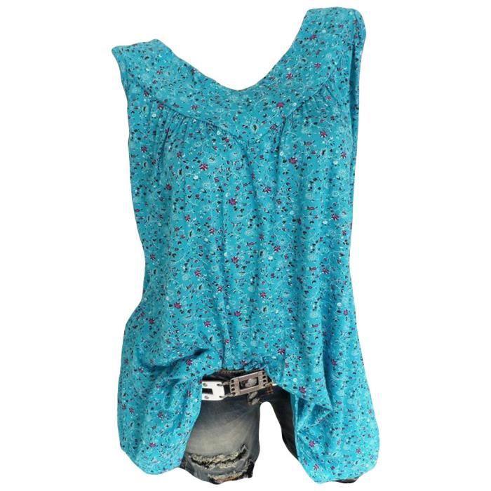 Imprimé T Chemisier Vrac À Tops Floral neck Femmes 1070 V shirt Mode En Casual T5YPq8wZ