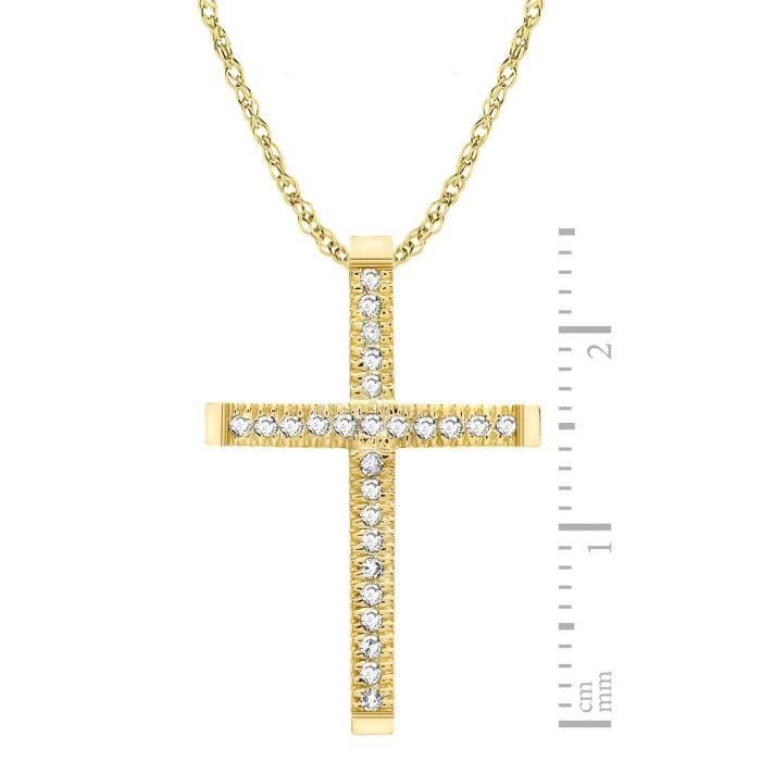9 ct or jaune diamant 0.13ct Pendentif croix Collier de 46cm - 18 Z8P0R