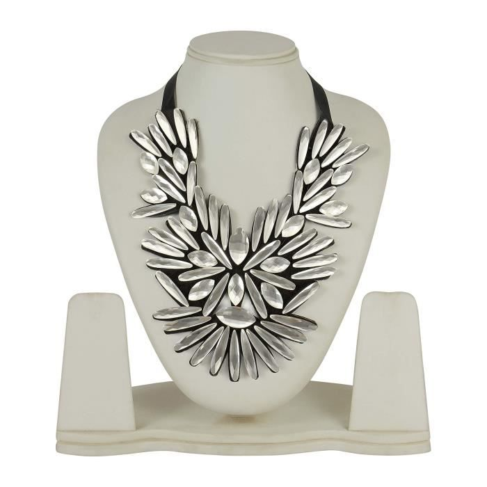 Womens Much More Elegant White Fashion Necklace Trendy Jewellery With Black Ribbon SLHP4