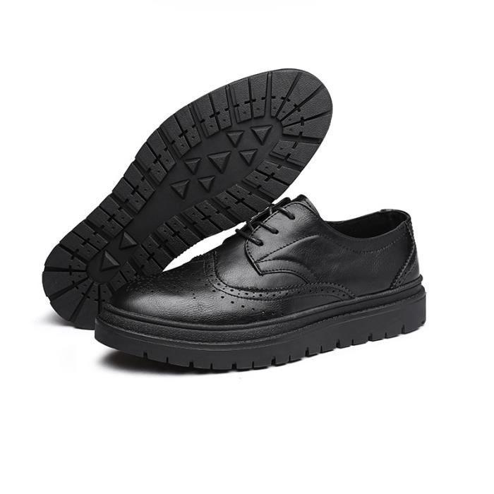 JOZSI Chaussures Homme Cuir Confortable mode Homme chaussure de ville HZ-XZ210Noir39 2JPyH1b
