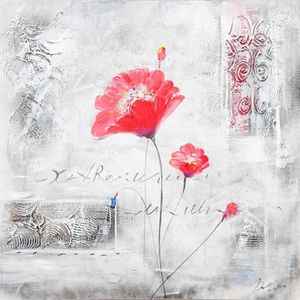 TABLEAU - TOILE FLEUR Toile peinte Deux fleurs roses - Coton - 70x