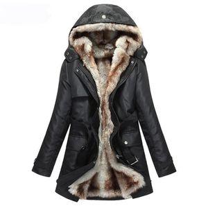 Manteau capuche fausse fourrure homme