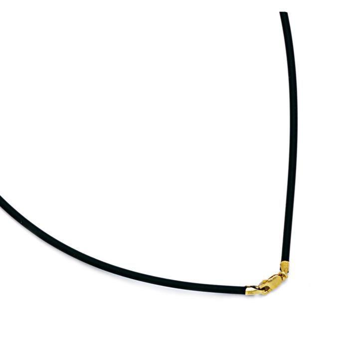 Or jaune 14 carats-Collier cordon caoutchouc-Dimensions :2 mm - 22 -