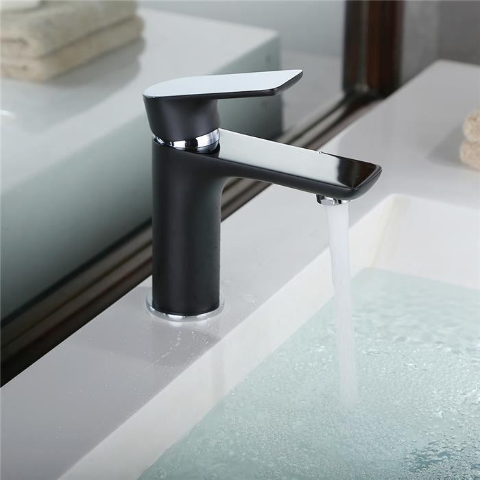 robinet de lavabo mitigeur pour vasque noir chrom. Black Bedroom Furniture Sets. Home Design Ideas