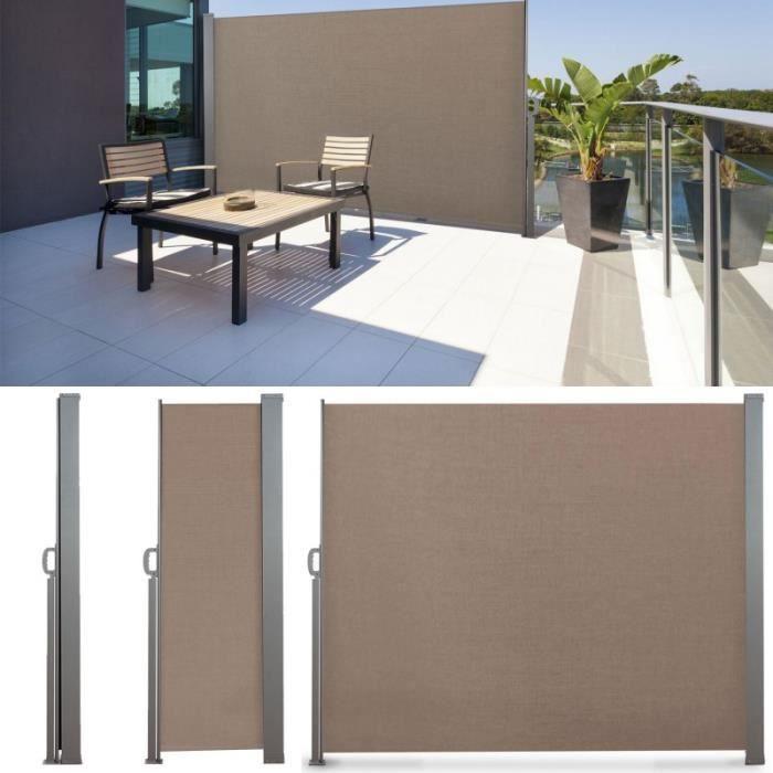 PARAVENT Paravent rétractable 300 x 180 cm store taupe laté
