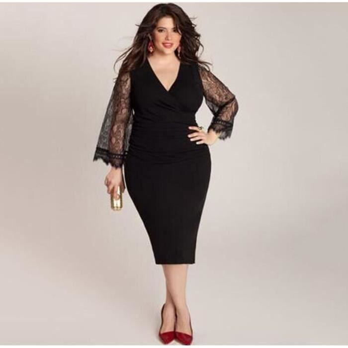 Femmes manches longues noir élégant Plus Size Dress SIMPLE FLAVOR