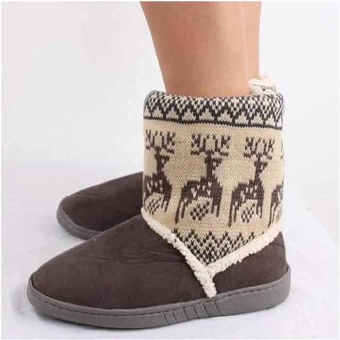 Bottines Femmes Deer Snow Boots hiver Coton-rembourré Chaussures BJ-XZ033Gris39 t13UDLWf