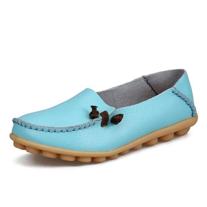 Loafer femmes Nouvelle arrivee marque de luxe chaussures plates cuir 2017 ete Respirant Plus Grande Taille 34-44 femme