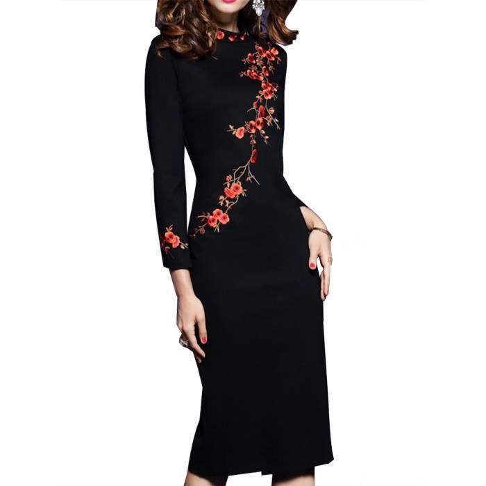 robe des femmes broderie manches longues élégance de dame robe chic,