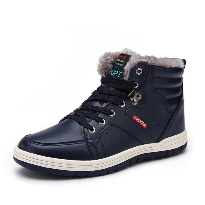Bottes de neige imperméables de fourrure doublure chaude Chaussures d'hiver en cuir A3GZX Taille-43