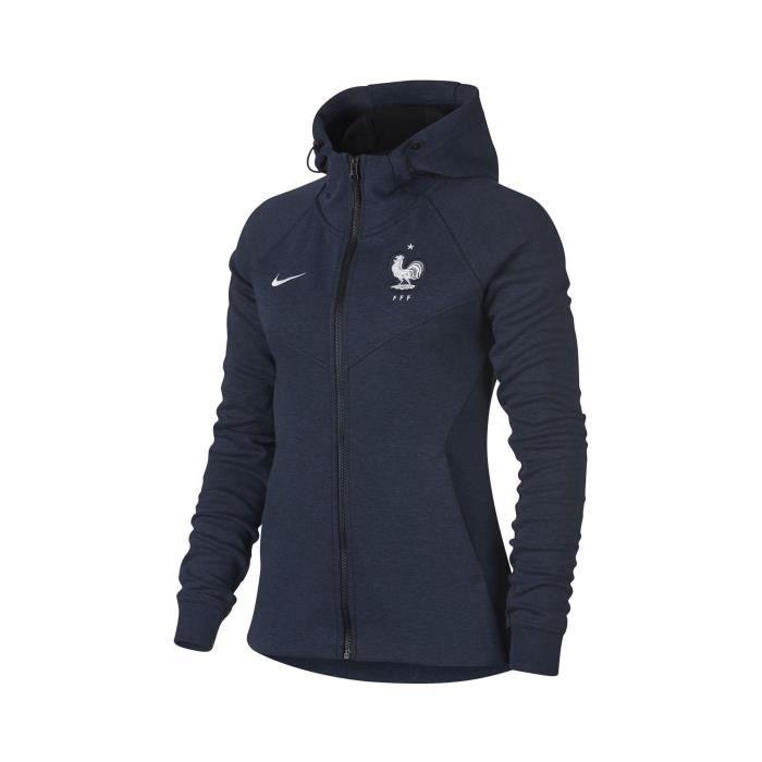 Veste à capuche FFF Nike Tech Fleece Bleu Femme Bleu Bleu - Achat ... 662c09a93172