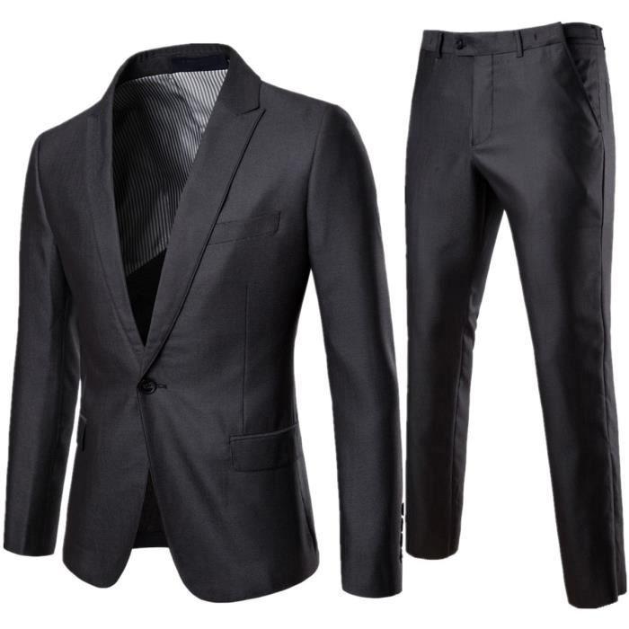 815144ba972a Costume Homme Mariage 2 pieces Slim costume homme de marque formel veste et  pantalon