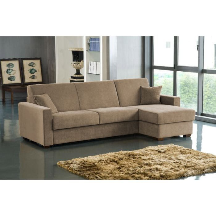 Canapé Convertible D Angle Rapido MILANO Taupe Achat Vente