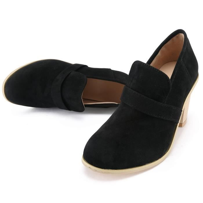 Rond Bout On Chaussures Talon Simples Pure Femmes Suede Haut wOqtxCFF