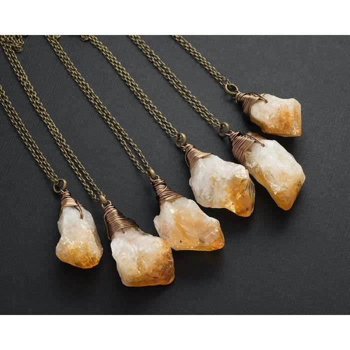 Womens Raw Citrine Antique Bronze Long Chain Pendant Necklace 24 In QHSEY