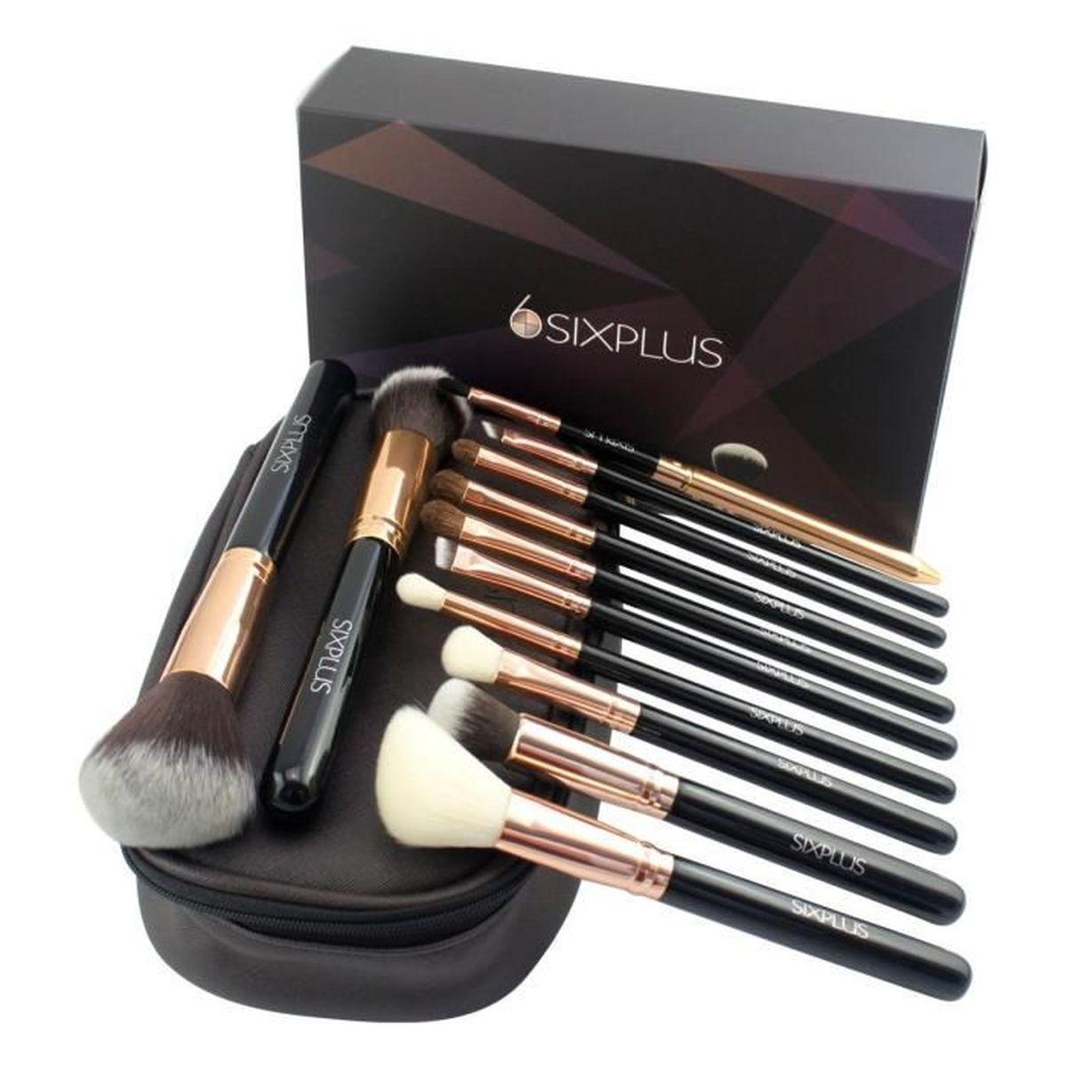 sixplus 12 kit pinceaux maquillage professionnel cosm tique beaut poudre fonds de teints. Black Bedroom Furniture Sets. Home Design Ideas