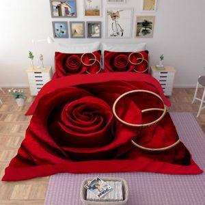 HOUSSE DE COUETTE SEULE Parure de lit rose rouge et bagues romantiques 3D