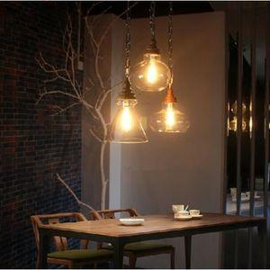 suspension r tro lustre en bois verre vintage plafonnier moderne lampe luminaire achat vente. Black Bedroom Furniture Sets. Home Design Ideas