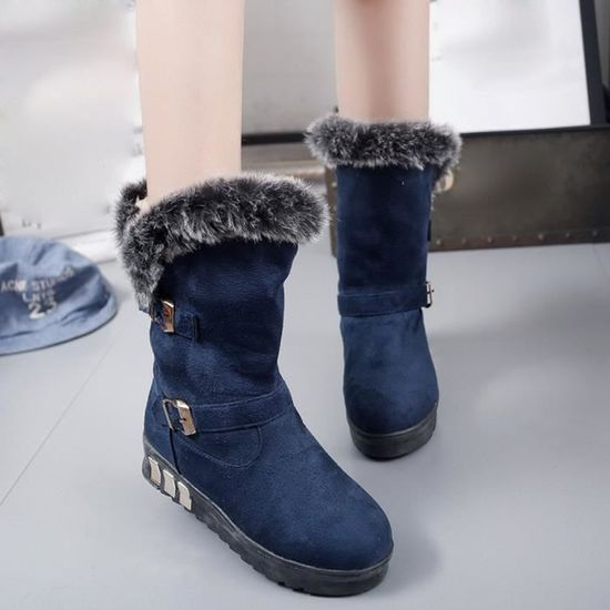 Bottes femme Slip-On doux Bottes de neige bout rond Bottes plates d'hiver de fourrure cheville Bleu Bleu - Achat / Vente slip-on