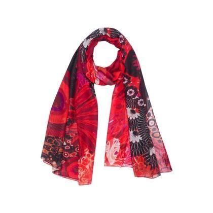 DESIGUAL Foulard New Tropical Rouge et noir - Achat   Vente echarpe ... 698c7a1cf5a