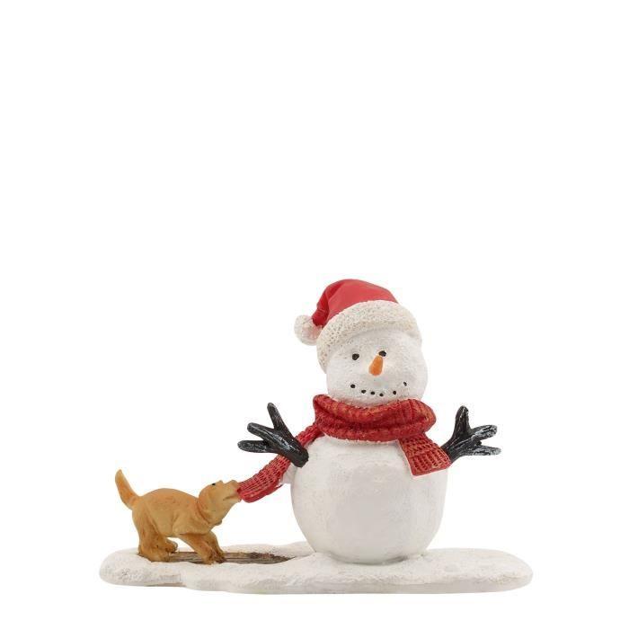 Personnage de Noël - Chien et Bonhomme de neige - Polyester - 10,5x4,5x7 cm - Multicolore