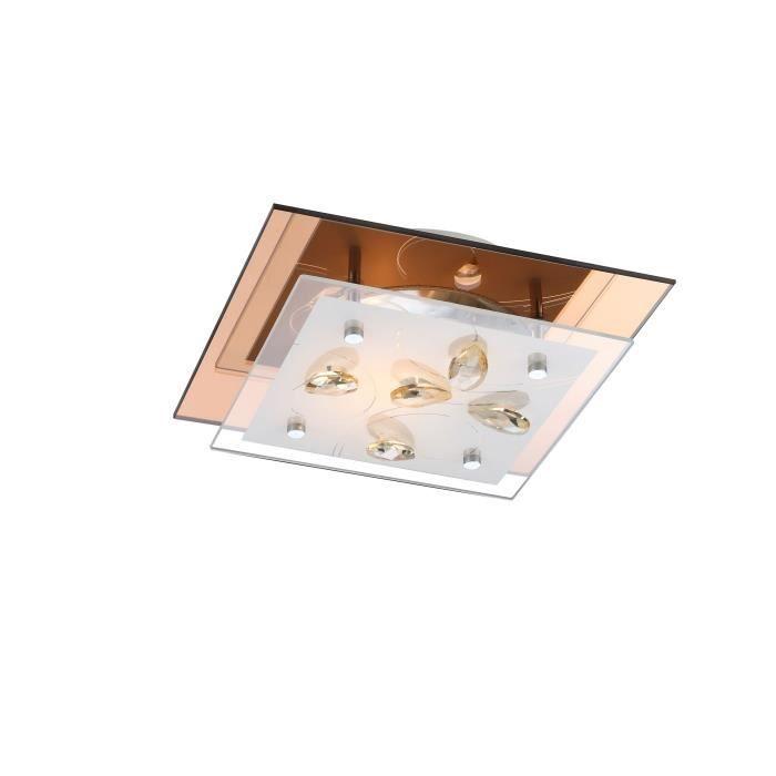 Plafonnier ambre - verre opal - cristaux K5 champagne - LxWxH:240x240x85 - Ampoule non inclusePLAFONNIER
