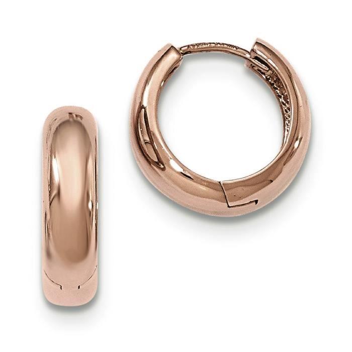 4,5 mm Or Rose 14 carats-Boucles doreilles anneaux à charnière