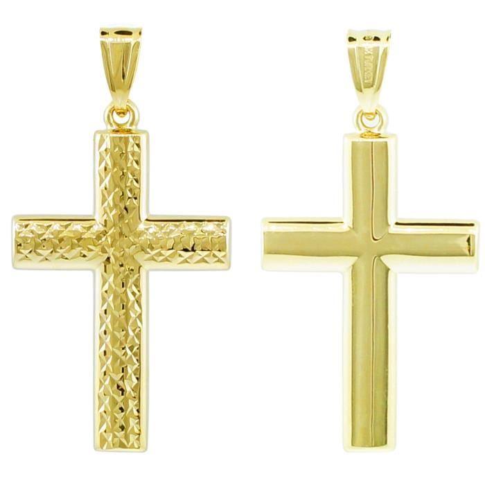 Collier Pendentif14 ct Or 585/1000 réversible Croix Collier Pendentif(vient avec une Chaîne de 45 cm)