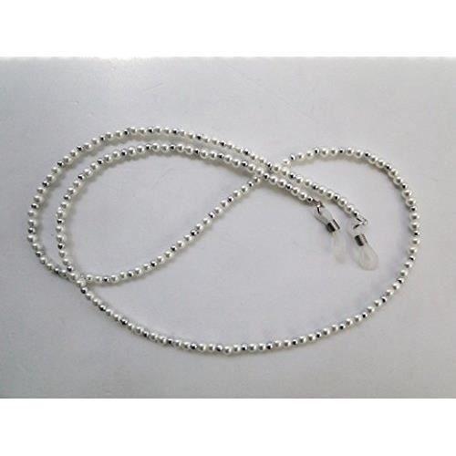 ebe2b0330b57af Lot de 2 Cordon chaine lunettes fantaisie perle argent nacre Argent ...