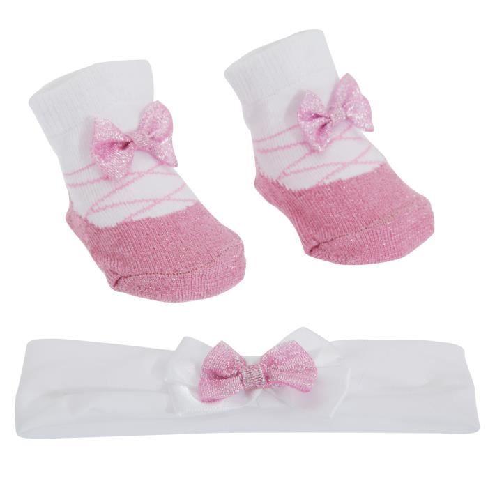 Chaussettes et bandeau avec noeud b b fille blanc rose achat vente chaussettes soldes - Bandeau noeud bebe ...