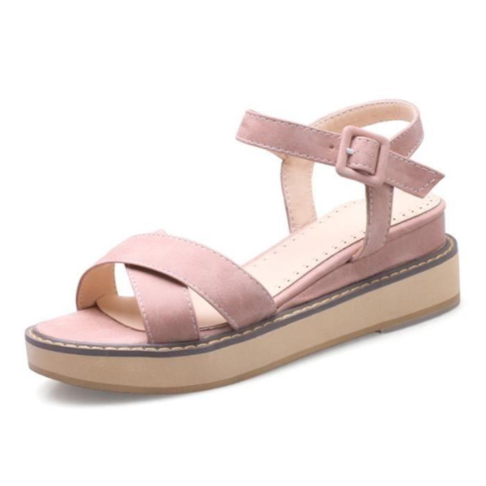 Femme sandales plates talon compensé semelle anti-patinage plateforme 5cm