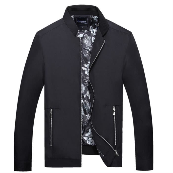 design de qualité 59f7d 2076c Pansy Blouson Homme en Cuton avec sous-vêtements Veste de Printemps Automne  Droit et Large Court Veste Manteau En Col M-3XL