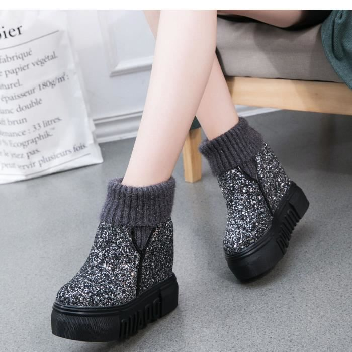GLAM®les femmes les bottes d'hiver au chaud chaussures bottes occasionnels antipatinage souple zeya3P58WN