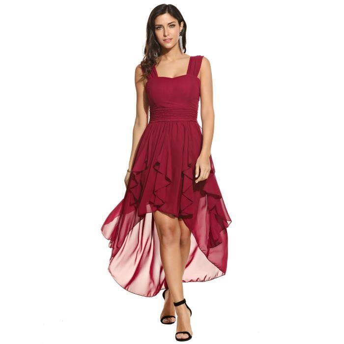 Femmes robe sexy collier carré sans manches volants ourlet asymétrique en mousseline de soie