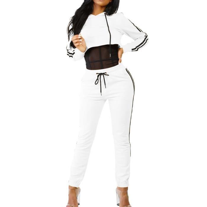 les clients d'abord le plus en vogue riche et magnifique Blanc Jogging Survêtement Femme Ensemble 2 Pièces Pull + Pantalon GYM Tenu  de Sport en Coton Capuche Lacet Rayure S-XL Grande Taille
