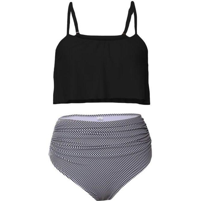 73d1d99893 Bikini Femme Maillot de Bain 2 Pièces Taille Haute Grande Taille Mignon Top  à Bretelles Volants Superposé Taille S à XXL (Noir)