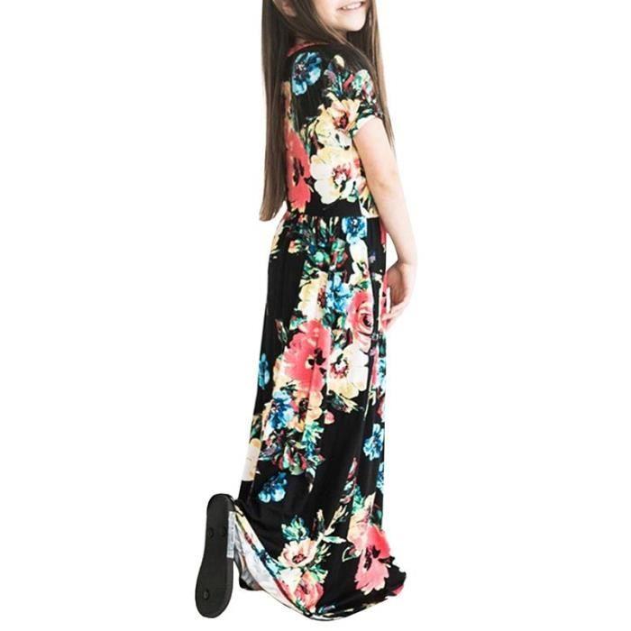 Robe Longue Fille Manches Courte Ete Imprime Fleur Robe Enfant Fille