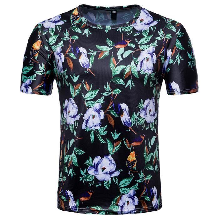 e7e2e6d95b02 T shirt homme a fleur - Achat   Vente pas cher