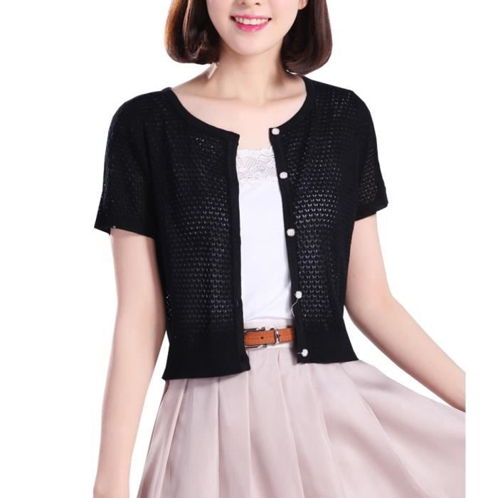 Womens Summer Crew Neck Short Sleeve Cardigans For Button Up Knit