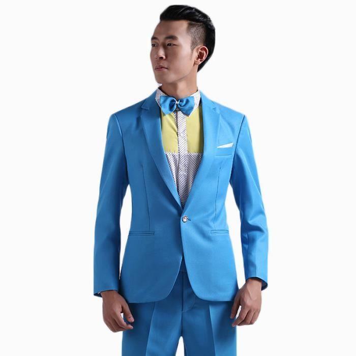 nouveau style f7fa4 b2040 (Costume + Pantalon + Ceinture+Noeud papillon)Costume homme de Marque  simple mode luxe ensemble de couleur quatre pièces coupe slim