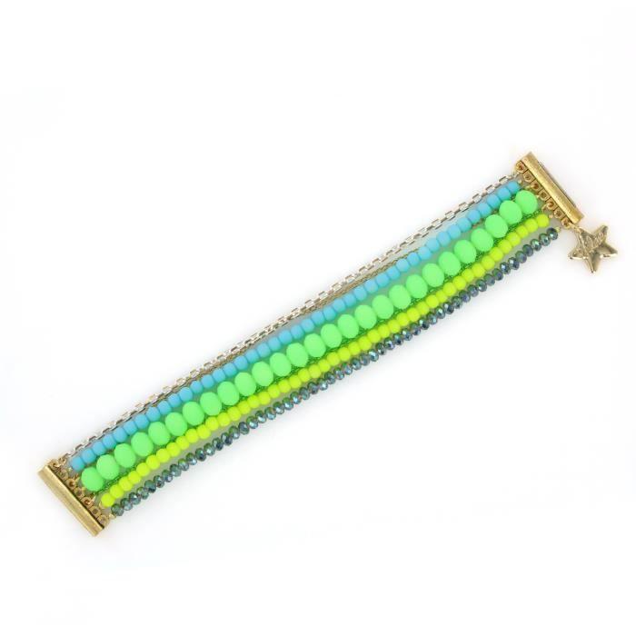 Philae H01 fluorescent jaune et vert-néon bleu S-bracelet Manchette - 18 cm 1W952A