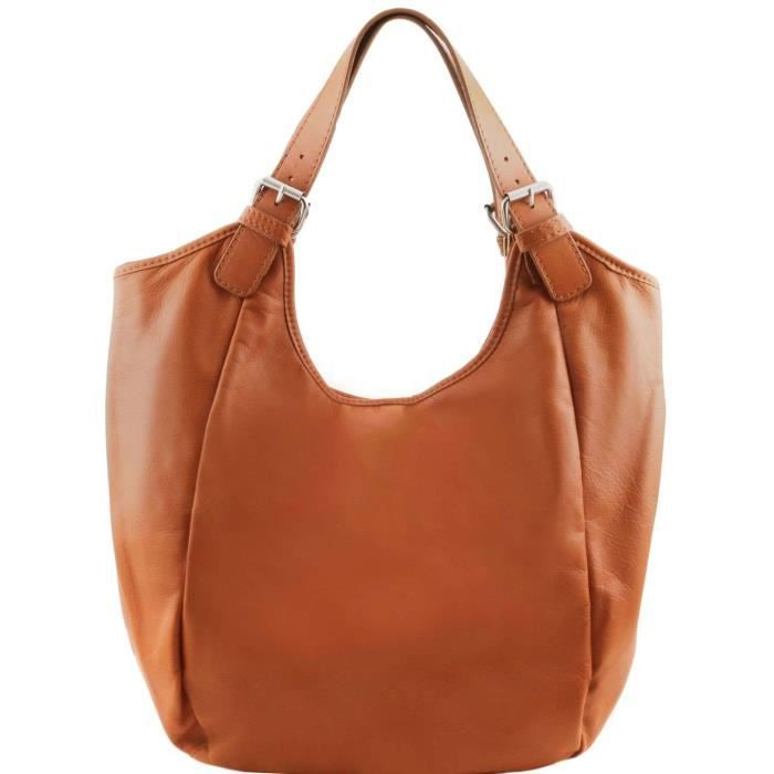 Tuscany Leather - Gina - Sac hobo en cuir New Size - Cognac