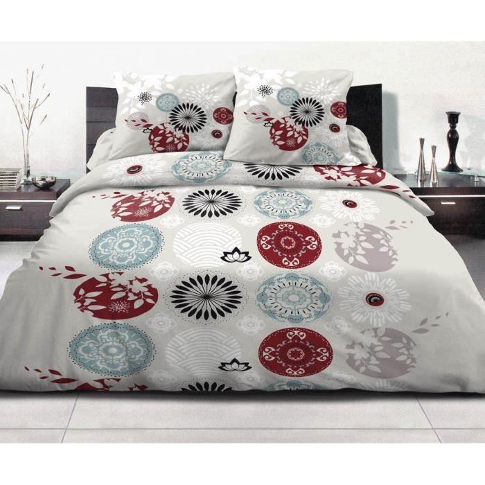 parure de lit 220x240 100 coton achat vente pas cher. Black Bedroom Furniture Sets. Home Design Ideas