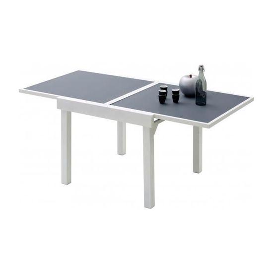 Table de jardin carrée extensible aluminium blanc et verre trempé ...