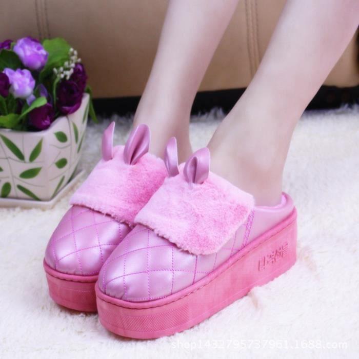 Automne et chaussures hiver mignon dessin animé pantoufles en coton épais maison dames à talons hauts de pantoufles glissantes