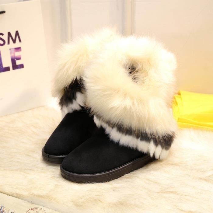 mode renard naturel vache fourrure cuir fendu dame bottes haute neige pour les femmes bottes d'hiver flats chaussures lapin pompons SeZ4CoCS